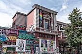 Die Rote Flora, former theater in the Schanzenviertel, Hamburg,