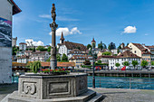 Fountain on the Reuss River in Lucerne, Switzerland | Panorama Lucerne, river Reuss, Switzerland