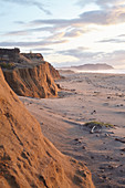 Beach with cliffs in the evening light from Point Reyes, California, USA.
