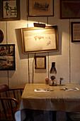 Laid table, Cold Spring Tavern, Santa Barbara, California, USA.