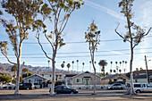 Apartment buildings in Carpinteria, Santa Barbara, California, USA.