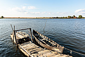 Wooden fishing rowboat in the Danube Delta, Mila 23, Tulcea, Romania.