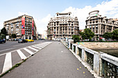 Bridge and street scene in Bucharest, Romania.