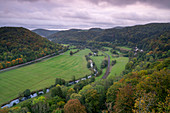 View from the castle ruin Neideck into the Wiesent valley, Franconia, Bavaria, Germany