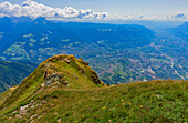 The Mutspitze 2294 m above sea level, the local mountain of Dorf Tirol with a view of Merano and the Adige Valley in South Tyrol.