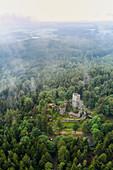 Aerial view of the Weissenstein ruin in the Steinwald, Waldershof, Tirschenreuth, Upper Palatinate, Bavaria, Germany, Europe