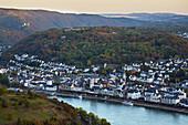 Blick vom Gedeonseck auf Boppard, Sonnenuntergang, Rhein, Mittelrhein, Unesco-Welterbe Oberes Mittelrheintal, Rheinland-Pfalz, Deutschland, Europa