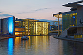 Spree with Chancellery in Berlin on summer evening, Berlin, Germany, Europe