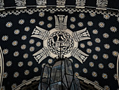 Black and white design ceiling decoration with Art Deco style glass chandelier, Villino delle Fate, Rome Italy