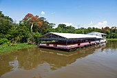 Floating restaurant on the Amazon near Manaus, rainforest, Amazon basin, Brazil, South America
