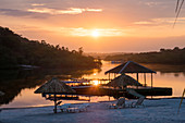 Tourists resort on the Amazon near Manaus, sunrise, Amazon basin, Brazil, South America