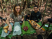 Barbecue during excursion into the rainforest on the Amazon near Manaus, Amazon basin, Brazil, South America