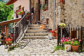 House entrance in the village of Bulnes, Bulnes, Picos de Europa, Picos de Europa National Park, Cantabrian Mountains, Asturias, Spain