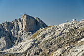 View of hut Cabana Veronica, from Horcados Rojos, Picos de Europa, Picos de Europa National Park, Cantabrian Mountains, Cantabria, Spain