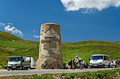 Monument at the top of the Col du Galibier pass, Col du Galibier, Hautes-Alpes, Savoie, France