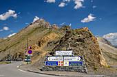 Pass summit of the Col du Galibier, Col du Galibier, Hautes-Alpes, Savoie, France