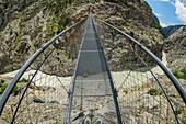 View from the Aletsch suspension bridge down to the glacier river, Aletsch suspension bridge, UNESCO World Natural Heritage Jungfrau-Aletsch, Bernese Alps, Switzerland