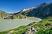 View of Grimselsee, Grimselhospiz and Urner Alps, from Grimsel Pass, UNESCO World Natural Heritage Jungfrau-Aletsch, Bernese Alps, Switzerland