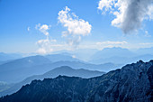 Staggered scenery with Kaiser Mountains, Chiemgau Alps and Berchtesgaden Alps, from the Pyramidenspitze, Kaiser Mountains, Tyrol, Austria