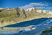 Großglockner mit Pasterze und Gletschersee, Glocknergruppe, Nationalpark Hohe Tauern, Kärnten, Österreich