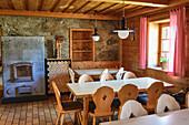 Guest room of the Neue Prager Hütte, Neue Prager Hütte, Venediger Group, Hohe Tauern, Hohe Tauern National Park, East Tyrol, Austria