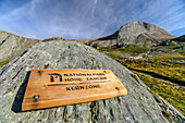 Sign National Park, mountains in the background, Granatspitzgruppe, Hohe Tauern, Hohe Tauern National Park, East Tyrol, Austria