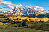 Shortly before sunset on the Alpe di Siusi in South Tyrol, Italy