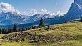 View of the surrounding mountain landscapes on the Alpe di Siusi in South Tyrol, Italy