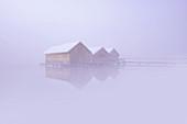 Die Fischerhäuser von Schlehdorf an einem nebligen Februarmorgen, Oberbayern, Bayern, Deutschland