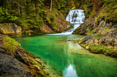 The waterfall on the Obernach Canal near Wallgau, Upper Bavaria, Bavaria, Germany