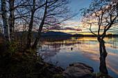November evening at the Staffelsee, Uffing, Upper Bavaria, Bavaria, Germany