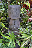 RAROTONGA - DEC 13 2017:Polynesian female figurine wooden carving sculpture.Most of Cook Islands original wood carvings were spirited away by early European collectors or burned by missionary zealots.