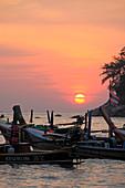 Thailand, Phuket, Kata Yai Beach, sunset, boats,