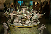 A container with 8 yaks from 200-306 BC (Western Han) in the bronze exhibit at the Shanghai Museum, a museum of ancient Chinese art, situated on the Peoples Square in the Huangpu District of Shanghai, China.