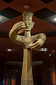 A bronze statue from the 12th century BC in the exhibit of ancient artifacts at the Sanxingdui Museum in Sanxingdui near Chengdu, Sichuan Province in China.