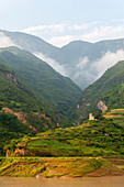 Landscape along the Qutang Gorge, which is the shortest and most spectacular of Chinas Three Gorges, on the Yangtze River, China.