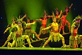 Action packed and colorful acrobatic show in Beijing, China.
