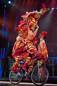 Action packed and colorful acrobatic show with women on a bicycle in Beijing, China.