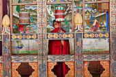 Monk, Tongsa Dzong; Buddhist monastery and fortress; in Tongsa; Bhutan