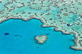 Aerial view of Heart Reef, part of Great Barrier Reef, Queensland, Australia