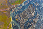 Aerial view of Hosa river coloured by glacial melt, South West Iceland
