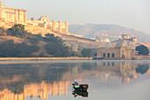 Fisherman early morning, Amber Fort, Jaipur, Rajasthan, India