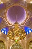 Main dome inside the prayer hall of Sheikh Zayed Bin Sultan Al Nahyan Mosque, Abu Dhabi, United Arab Emirates