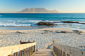 Bloubergstrand beach with Table Mountain in background. Cape Town, Western Cape, South Africa