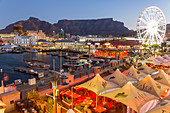 V&A waterfront at dusk, & Table Mountain, Cape Town, Western Cape, South Africa
