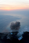 Volcanic eruption with black smoke, Stromboli Volcano, Stromboli Island, Aeolian Islands, Sicily, South Italy, Italy,