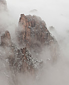 Snow, Huangshan or Yellow Mountains, Anhui Province, China