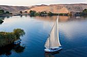 Felucca sailboats on River Nile, Aswan, Egypt