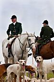 Fox hunting, horseman & hounds, Gloucestershire, UK
