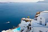 Swimming pool & view, Oia, Santorini, Cyclades islands, Greece